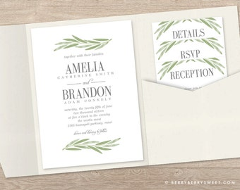Printable Pocket Wedding Invitation Template - PAINTED BRANCH Wedding Suite
