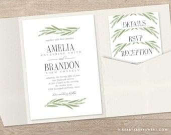 Printable Pocket Wedding Invitation Template - PAINTED BRANCH Wedding Suite #PBC