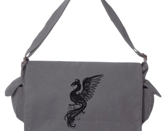 Dark Creatures - Phoenix Embroidered Canvas Cotton Messenger Bag