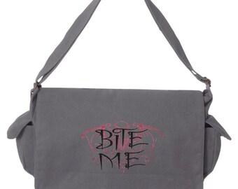 Tricks & Treats - Bite Me Embroidered Canvas Cotton Messenger Bag