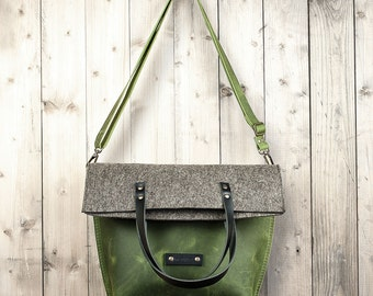 Women crossbody bag leather green felt shoulder rustic tote satchel gift for women wife girlfriend Birthday christmas autumn winter