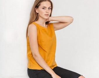 Basic linen top / Linen tank top / Linen blouse / Mustard yellow linen top / #18