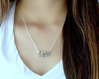 Labradorite Necklace Labradorite Jewelry Labradorite Gemstone Necklace 925 Sterling Silver Trio gemstone Necklace Beach Wedding Boho chic