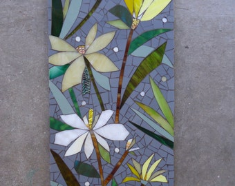 SALE! 2ft MOSAIC mural FLORAL - stained glass mosaic panel wall hanging - indoor/outdoor art