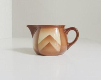 Retro ceramic sauce boat, milk jug, brown, beige, earth tones, graphic pattern, mid century modern, retro design