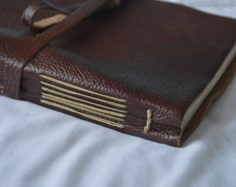 Genuine Leather Bound Blank Journal with Straight Edges