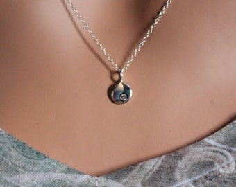 Sterling Silver June Birthstone Necklace, June Birthstone Necklace, June Birthstone Charm Necklace, Simple June Charm Necklace