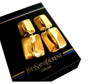 YVES SAINT LAURENT ~ Authentic Vintage Gold Plated Clip On Earrings