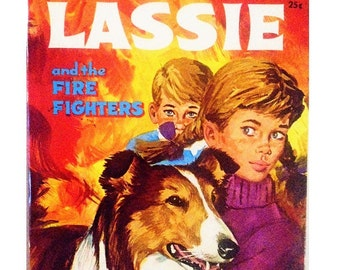 Lassie and the Firefighters, Vintage Lassie Book, Childrens Book, 1968, Florence Mitchelson, Long-Haired Collie, Old Book, Tell-a-tale
