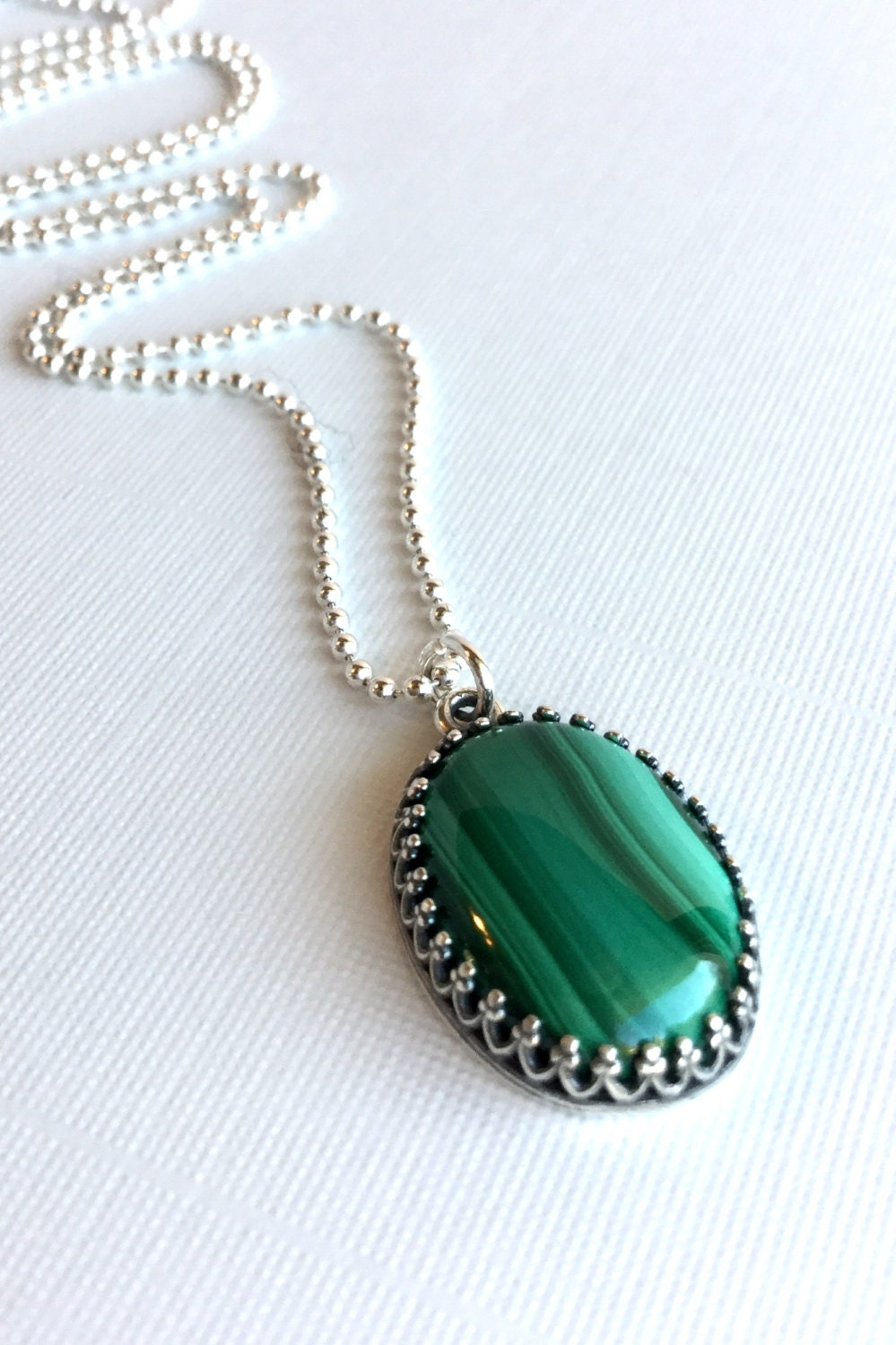 Natural Stone Jewelry : Green malachite necklace oval natural stone pendant emerald