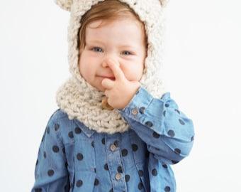 Baby Bear Hood in Barley