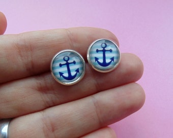 Anchor Earring Studs - Silver Plated, Cabochons - 12mm