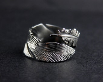 Hand-Crafted Feather Sterling Silver Adjustable Ring
