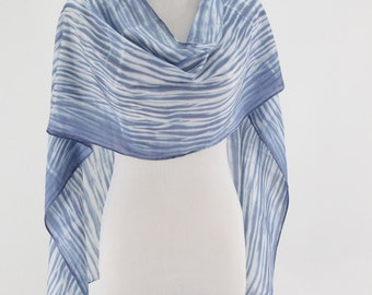 Hand painted silk scarf Wedgwood Blue Shibori Abstract, blue and white striped scarf, habotai silk scarf, hand dyed scarf, made to order