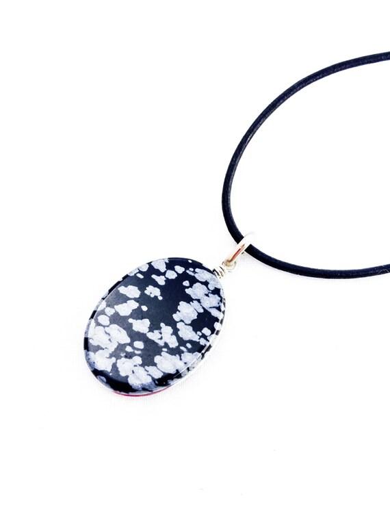 White Snowflake Obsidian : Snowflake obsidian pendant black white by spiralica