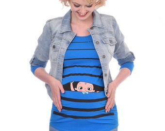 Maternity Shirt, Pregnancy Announcement, Maternity Clothing, Our Signature Cute Baby Boy Peeking Design