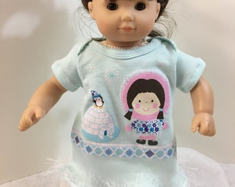 "Sale- 15 inch Bitty Baby Clothes,""ESKIMO-IGLOO & Penguin"" Dress, 15 inch American Doll Bitty Baby, Fits 16"" Cabbage Patch Kids, Winter Fun!"