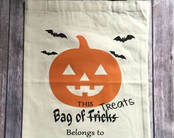 Personalized Pumpkin Trick or Treat Bag, Trick or Treat Tote, Trick or Treat Bag