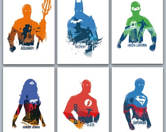 Justice League Poster Set 6 prints included - aquaman batman green lantern wonderwoman flash superman - geek decor wall art superheroes
