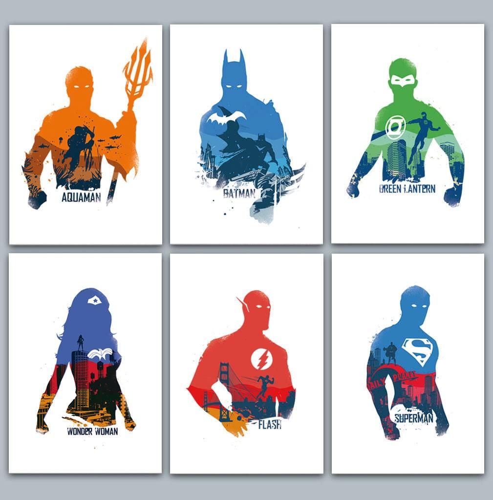 Justice League Poster Set 6 Prints Included Aquaman Batman