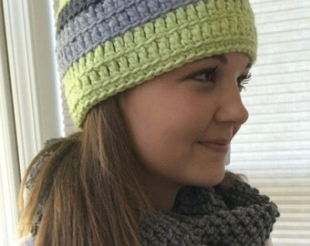 Hat - grays and green