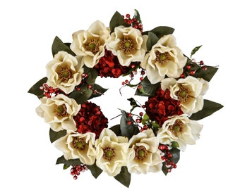 White Christmas Magnolia Wreath | Holiday Wreath | Winter Wreath | Magnolia Leaf | Hydrangea Wreath | Christmas Decorations