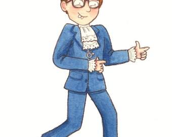 Austin Powers - Original Watercolour Illustration - International Man of Mystery - Groovy - 60s - Film - Funny - Cartoon - Mike Myers