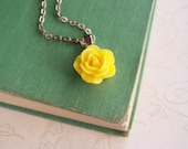Sunny Yellow Rose Necklace with Silver Chain, Yellow Rose Pendant Necklace, Resin Flower Jewelry