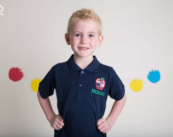 Boy School Shirt with Plaid Apple and Embroidered Name - M39