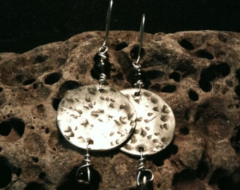 Pewter disc earrings with smoky quartz bead and drop