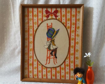 Vintage Crewel Embroidery, Holly Hobbie, Framed Wall Hanging, Little Girl Cameo, 70s 80s
