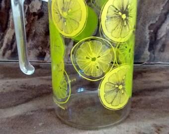Vintage Pyrex pitcher lemon & limes. retro tea jar. Classy 1960's  Pyrex glass pitcher