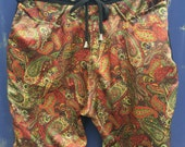 Gold Paisley Silk Type and Black Stretch  Mens shorts -Tailored Street Fashion - Summer - Limited Edition - Silk Shorts - Hand Made - Luxury