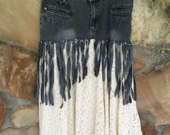 Beaded Fringed Denim Cotton Skirt
