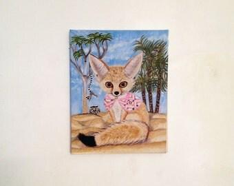 Fennec Fox Print from Original Oil Painting, Fennec Fox Art, Fox Nursery Wall Art Decor, Fox Art, Fox Print, Fennec Fox & Lemurs Art Amy Tom