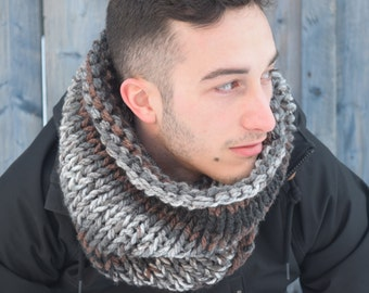 READY TO SHIP | Men tube scarf | Winter scarf | Knitted wool scarf | Knit accessories | Tube scarf | Warm chunky cowl | Hot neckwarmer |