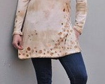 hand painted tunic,upcycled clothing,eco friendly,organic cotton tunic, recycled clothing,repurposed,reconstructed,