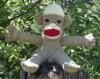 Sock Monkey, Baby Sock Monkey, Stuffed Animal, Toy Monkey, Stuffed Monkey Toy