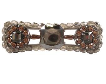 Bling Drawer Pull Swarovski Crystals Czech Glass Beads/Dresser/Kitchen Cabinet Handle/Unique Art Deco/Bath/Vanity/Elegant/Glamorous/Silver