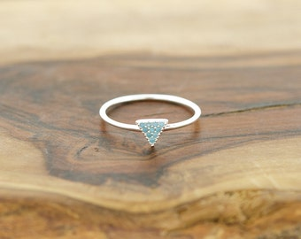 925 Sterling Silver Blue Turquoise Nano Triangle Ring