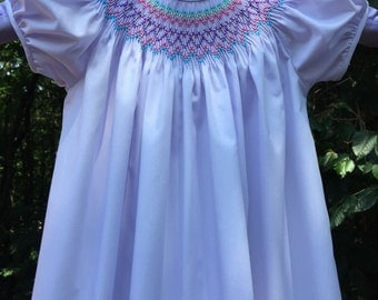 Lavender/Multi-Colored Hand Smocked Bishop Dress