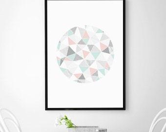 Geometric Pastel & Marble Circle Print