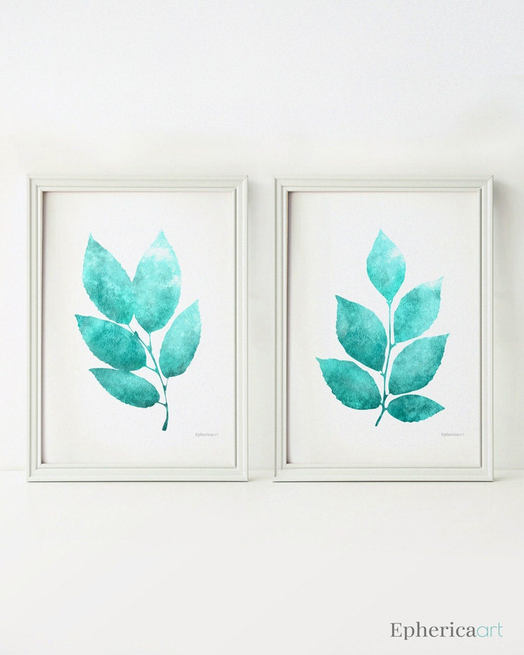 wall art set of 2 prints teal home decor wall art printable