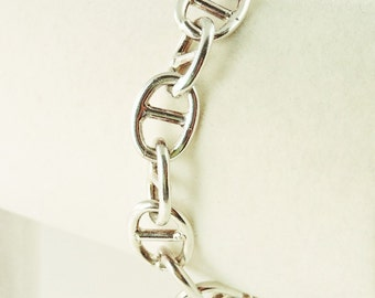 "Sterling Silver Chunky Anchor Chain Toggle Bracelet 7 1/4"" (22.4 grams)"