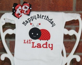 2 pc. Ladybug birthday bodysuit or shirt and bow! Little Lady birthday outfit with ladybug applique top and matching hair bow!