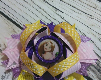 SALE Rapunzel Tangled Disney Princess Stacked Boutique Hair Bow 4.5 inch