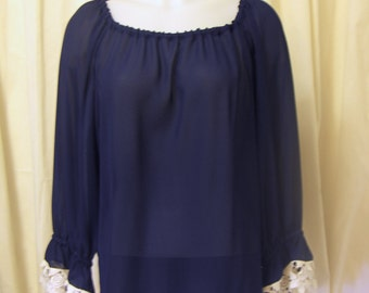Navy Blue Semi-Sheer Fabric Fairy, Pirate, Peasant Blouse, With Ivory Lace Trim, Size XS/S