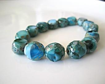 Turquoise Table Cut Round Beads Aqua Czech Glass Beads Blue Beads Turquoise Czech Beads Aqua Faceted Beads 12mm (4 pcs) 130V3