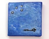 Small blue Stargazer Painting, original art, quirky art, Southern Cross stars, Christmas gift, mini art with optional wooden easel