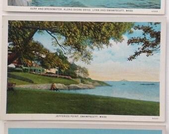 Swampscott, MA vintage postcards, lot of three, Jefferies Point, Waterfront, Shore Drive, Ocean House